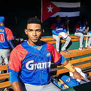 CULIACAN, MEXICO - FEBRUARY 1, 2017: Yoelkis Cespedes #51 of Cuba sits in the dugout before the start of the Caribbean Series game against the Dominican Republic at Estadio de los Tomateros on February 1, 2017 in Culiacan, Mexico. (Photo by Jean Fruth)