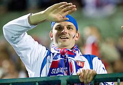 Slovakian fans at  the 2010 FIFA World Cup South Africa Qualifying match between Slovakia and Slovenia, on October 10, 2009, Tehelne Pole Stadium, Bratislava, Slovakia. Slovenia won 2:0. (Photo by Vid Ponikvar / Sportida)
