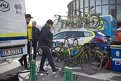 All Orica-AIS Cycling Team bikes are ready for the Liege-Bastogne-Liege Femmes - a 135.5 km road race, between  Bastogne and Ans on April 23, 2017, in Liege, Belgium.