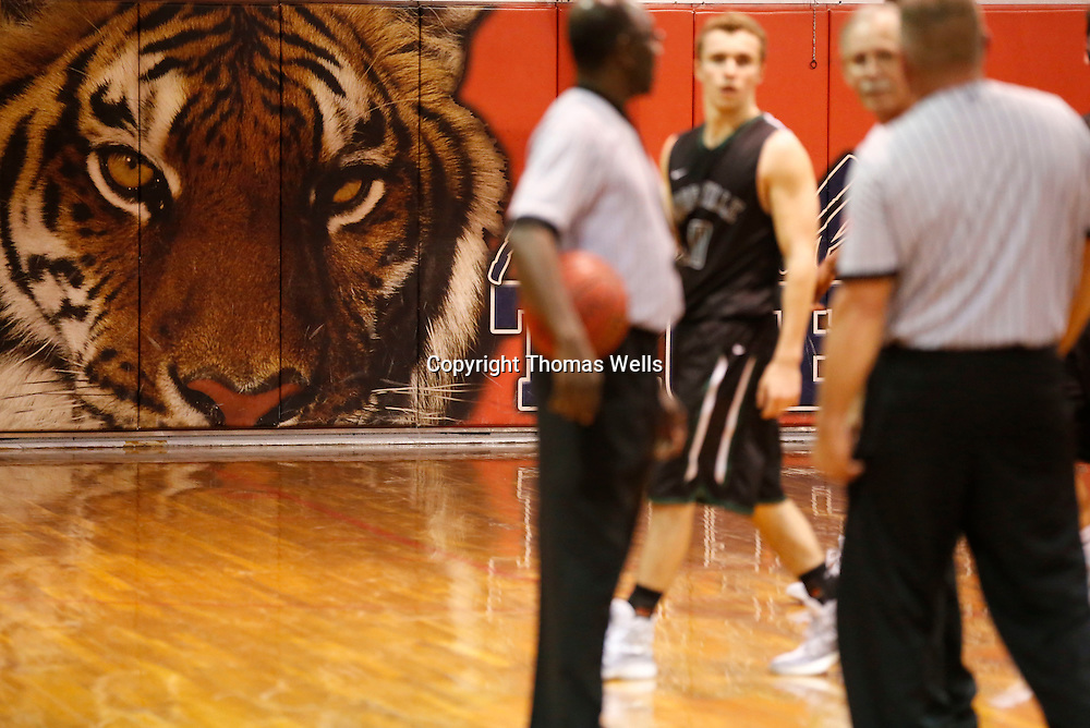 Thomas Wells | Buy at PHOTOS.DJOURNAL.COM<br /> The Nettleton Tiger keeps a close eye on the referee's and players during the Mooreville and Shannon game Friday night.