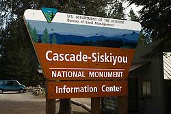 Bureau of Land Management sign for the Cascade-Siskiyou National Monument information center, Green Springs, Oregon