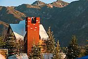 Winter Scene, House, Snow, Mountains, Trees