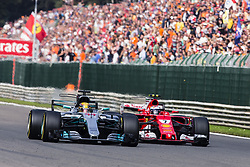 August 27, 2017 - Spa, Belgium - 44 HAMILTON Lewis from Great Britain of team Mercedes GP defendig the attack of 07 RAIKKONEN Kimi from Finland of scuderia Ferrari during the Formula One Belgian Grand Prix at Circuit de Spa-Francorchamps on August 27, 2017 in Spa, Belgium. (Credit Image: © Xavier Bonilla/NurPhoto via ZUMA Press)