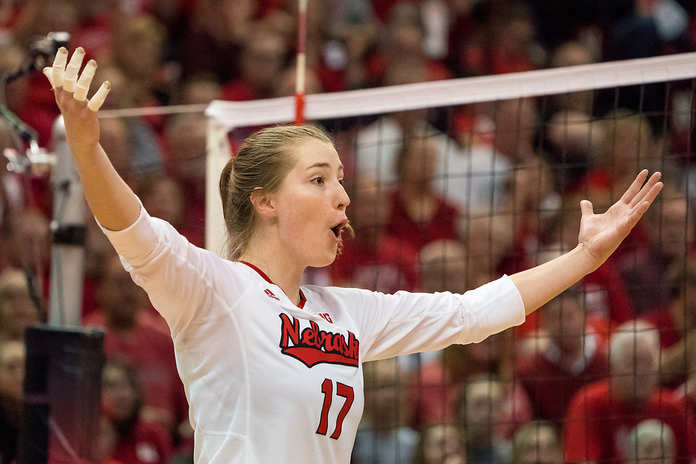 during a 3-0 win over Stony Brook in the first round of the NCAA Tournament at the Bob Devaney Sports Center in Lincoln, Nebraska on Dec. 1, 2017. Photo by Aaron Babcock, Hail Varsity