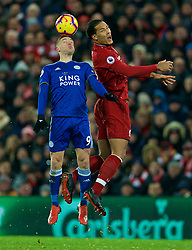 LIVERPOOL, ENGLAND - Wednesday, January 30, 2019: Liverpool's Virgil van Dijk and Leicester City's Jamie Vardy during the FA Premier League match between Liverpool FC and Leicester City FC at Anfield. (Pic by David Rawcliffe/Propaganda)