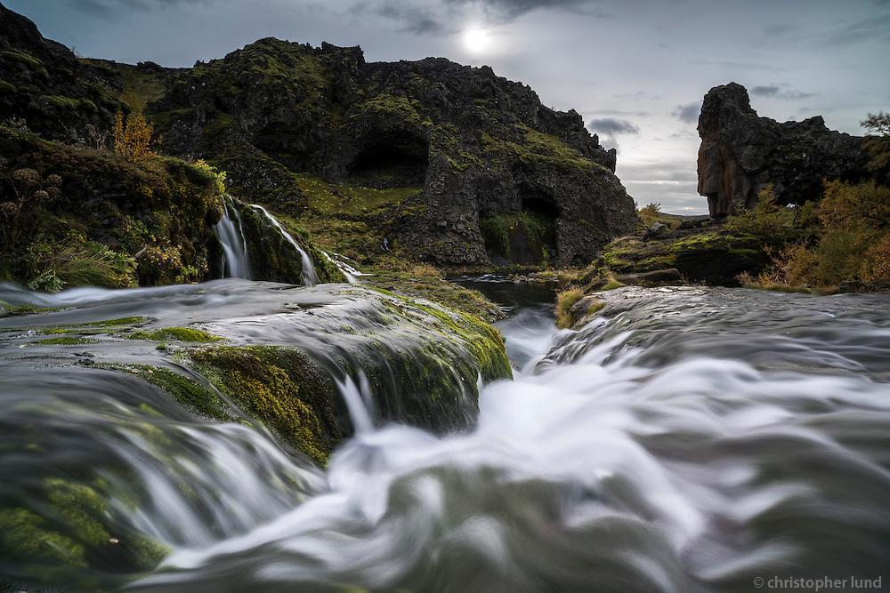 Rauðá river running through Gjáin in Þjórsárdalur, South Iceland.