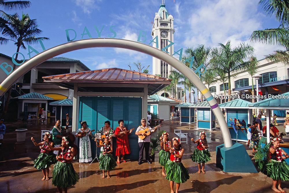 Hula Dancer, Aloha Tower, Honolulu, Oahu, Hawaii