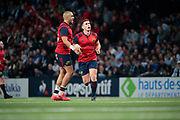 Ian Keatley (Munster Rugby) scored a penalty, celebration with Simon Zebo (Munster Rugby) during the European Rugby Champions Cup, Pool 4, Rugby Union match between Racing 92 and Munster Rugby on January 14, 2018 at U Arena stadium in Nanterre, France - Photo Stephane Allaman / ProSportsImages / DPPI