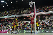 England Women GS Rachel Dunn shoots and scores during the Netball World Cup 2019 Preparation match between England Women and Uganda at Copper Box Arena, Queen Elizabeth Olympic Park, United Kingdom on 30 November 2018.