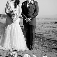 Amy and Travis pose for portraits after their Vancouver Island wedding.