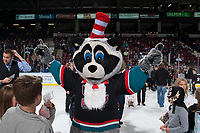 KELOWNA, CANADA - OCTOBER 28: Rocky Racoon, the mascot of the Kelowna Rockets poses on the ice during intermission dressed as the Cat in the Hat for Halloween against the Prince George Cougars on October 28, 2017 at Prospera Place in Kelowna, British Columbia, Canada.  (Photo by Marissa Baecker/Shoot the Breeze)  *** Local Caption ***
