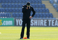 An animated Surrey's Kevin Pietersen reacts during a football matched played in the warm up prior to the stat. - Photo mandatory by-line: Harry Trump/JMP - Mobile: 07966 386802 - 21/04/15 - SPORT - CRICKET - LVCC County Championship - Division 2 - Day 3 - Glamorgan v Surrey - Swalec Stadium, Cardiff, Wales.