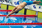 Ashgabat, Turkmenistan - 2017 September 24: Begenc Gurbanow from Turkmenistan competes in Men's 200m Freestyle Heat 2 Short Course Swimming competition during 2017 Ashgabat 5th Asian Indoor &amp; Martial Arts Games at Aquatics Centre (AQC) at Ashgabat Olympic Complex on September 24, 2017 in Ashgabat, Turkmenistan.<br /> <br /> Photo by &copy; Adam Nurkiewicz / Laurel Photo Services