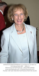 BARONESS GREENGROSS at a luncheon in London on 13th December 2001.<br />OWH 31