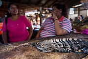 09 JANUARY 2007 - GRANADA, NICARAGUA: Women selling iguanas in the market in Granada, Nicaragua. Iguanas are a delicacy in Nicaragua. Granada, founded in 1524, is one of the oldest cities in the Americas. Granada was relatively untouched by either the Nicaraguan revolution or the Contra War, so its colonial architecture survived relatively unscathed. It has emerged as the heart of Nicaragua's tourism revival.  Photo by Jack Kurtz / ZUMA Press