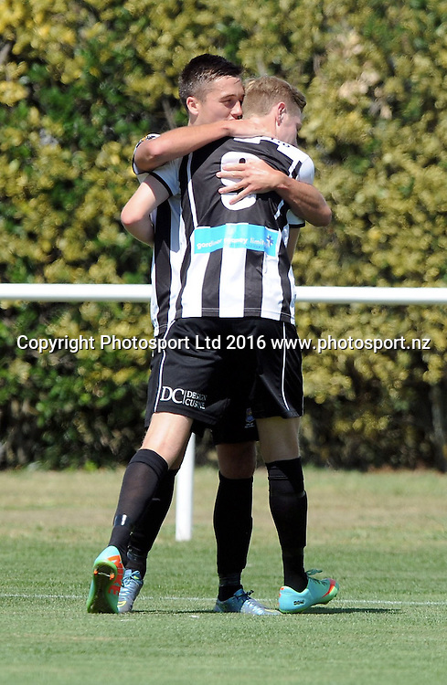 Hawkes Bay United's Tom Biss and Ross Willox celebrate a goal in the ASB Premiership match, Hawkes Bay United v Waitakere United, Bluewater Stadium, Napier, Sunday, February 28, 2016. Copyright photo: Kerry Marshall / www.photosport.nz