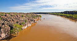 The Fitzroy River winds through Geikie Gorge.