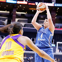 17 June 2014: Minnesota Lynx center Janel McCarville (4) takes a jumpshot during the Minnesota Lynx  94-77 victory over the Los Angeles Sparks, at the Staples Center, Los Angeles, California, USA.