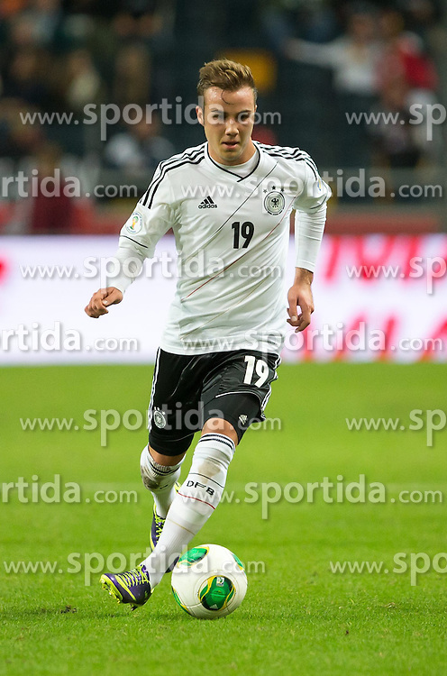 15.10.2013, Friends Arena, Stockholm, SWE, FIFA WM Qualifikation, Schweden vs Deutschland, Gruppe C, im Bild Germany 19 Mario G&copy;tze Gotze, , , Nyckelord , Keywords : football , fotboll , soccer , FIFA , World Cup , Qualification , Sweden , Sverige , Schweden , Germany , Tyskland , Deutschland portr&copy;tt portrait // during the FIFA World Cup Qualifier Group C Match between Sweden and Germany at the Friends Arena, Stockholm, Sweden on 2013/10/15. EXPA Pictures &copy; 2013, PhotoCredit: EXPA/ PicAgency Skycam/ Ted Malm<br /> <br /> ***** ATTENTION - OUT OF SWE *****