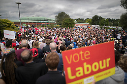 © Licensed to London News Pictures. 31/05/2017. Reading, UK. Leader of the Labour Party JEREMY CORBYN speaks to supporters at a rally at Rivermead Leisure Centre in Reading, Berkshire, ahead of a general election on June 8. Mr Corbyn has announced that he will join an seven way election debate tonight in Cambridge. Prime Minister Theresa May has said she will not attend. Photo credit: Peter Macdiarmid/LNP