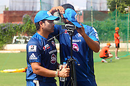 Sachin Tendulkar reviews the footage of his training session during the Mumbai Indians nets session held at the Sawai Mansingh Stadium in Jaipur on the 26th September 2013<br /> <br /> Photo by Ron Gaunt-CLT20-SPORTZPICS <br /> <br /> Use of this image is subject to the terms and conditions as outlined by the CLT20. These terms can be found by following this link:<br /> <br /> http://sportzpics.photoshelter.com/image/I0000NmDchxxGVv4
