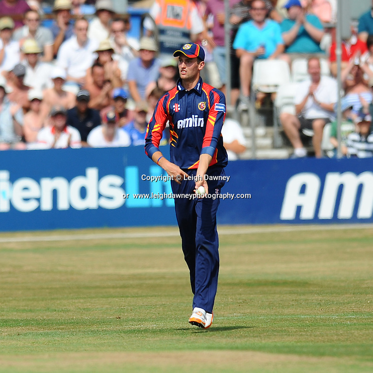"Reece Topley of Essex catches out Joe Gatting of Sussex during the Friends Life T20 between Essex ""Eagles"" v Sussex ""Sharks"" at the Essex County Cricket Ground on the 14th July 2013. Credit: © Leigh Dawney Photography. Self Billing where applicable. Tel: 07812 790920"