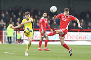 Kevin Dawson and Mark Randall during the EFL Sky Bet League 2 match between Crawley Town and Cheltenham Town at the Checkatrade.com Stadium, Crawley, England on 24 March 2018. Picture by Antony Thompson.