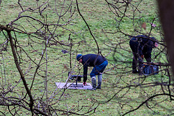 "© Licensed to London News Pictures. 07/12/2019. Gerrards Cross, UK. A drone sits in a field as operators prepare the device for flight as London's Metropolitan Police Service searches woodland in Gerrards Cross, Buckinghamshire. Police have been in the area conducting operations since Thursday 5th December 2019 and are searching two areas on Hedgerley Lane. In a press statement a Metropolitan Police spokesperson said ""Officers are currently in the Gerrards Cross area of Buckinghamshire as part of an ongoing investigation.<br /> ""We are not prepared to discuss further for operational reasons.""<br /> Photo credit: Peter Manning/LNP"