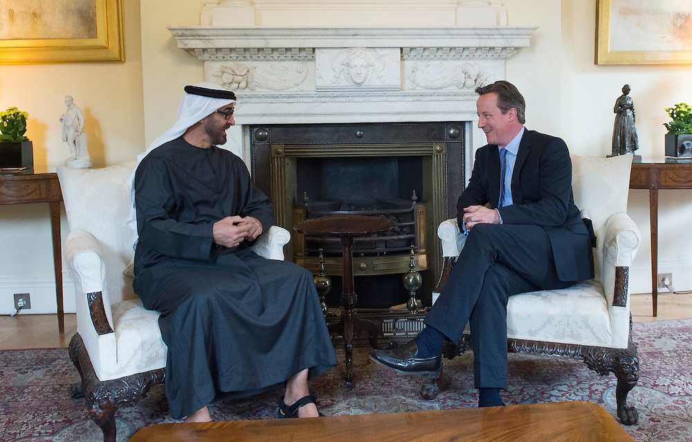 British Prime Minister David Cameron ( R) mets Crown Prince Mohammed bin Zayed Al Nahyan of Abu Dhabi (L) in 10 Downing Street in London, Britain on 2 July 2015. EPA/WILL OLIVER