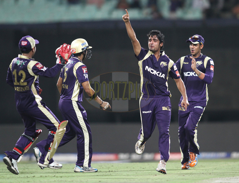 Iqbal Abdulla of the Kolkata Knight Riders celebrates David Hussey of the Kings XI Punjab wicket during match 37 of the Indian Premier League ( IPL ) between the Kolkata Knight Riders and the Royal Kings XI Punjab held at Eden Gardens Cricket Stadium in Kolkata, India on the 30th April 2011..Photo by Shaun Roy/BCCI/SPORTZPICS