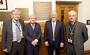 Kinderstransport plaque in Parliament, Westminster, London, Great Britain <br /> 27th January 2017 <br /> <br /> Chief Rabbi and Archbishop of Canterbury to mark Holocaust Memorial Day with Lord Dubs at rededication of Kindertransport plaque in Parliament<br />  <br /> 20 years ago the Committee of the Reunion of the Kindertransport donated a plaque to Parliament commemorating Britain&rsquo;s act of generosity to Jewish children in Nazi-occupied Europe. On Holocaust Memorial Day [27 January 2017], the plaque will be rededicated in the presence of newly arrived child refugees who were reunited with their families from Calais last year by Safe Passage, a project of Citizens UK. <br />  <br /> The ceremony will be particularly poignant as it will be attended by Lord Dubs, himself a Kindertransport survivor, who passed an amendment to the Immigration Act last year, with the Government's support, affording sanctuary in the UK to some of the most vulnerable lone child refugees in Europe.<br />  <br /> l to r <br /> Lord Alf Dubs.<br /> <br /> Speaker of the House of Commons, John Bercow, <br /> Chief Rabbi, Ephraim Mirvis, <br /> Archbishop of Canterbury, Justin Welby, <br /> <br /> Rededication of Kinderstransport plaque in Parliament<br /> <br /> <br /> <br /> <br /> Photograph by Elliott Franks