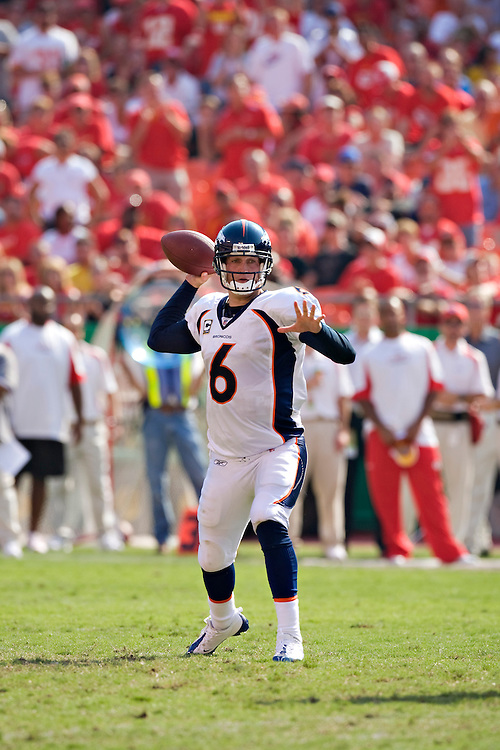 KANSAS CITY, MO - SEPTEMBER 28:   Jay Cutler #6 of the Denver Broncos throws a pass against the Kansas City Chiefs at Arrowhead Stadium on September 28, 2008 in Kansas City, Missouri.  The Chiefs defeated the Broncos 33-19.  (Photo by Wesley Hitt/Getty Images) *** Local Caption *** Jay Cutler