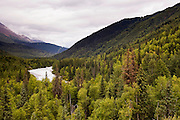 USA, Alaska (AK).Forest and lake near Kenai National Park