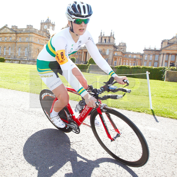 © Licensed to London News Pictures.  18/08/2012. OXFORD, UK. Alexandra Green (pictured), a member of the Australian Paralympic cycling team, takes part in the 20km time trial during the Bike Blenheim Palace festival in Woodstock, near Oxford.  The annual event is taking place over the weekend of 18th and 19th August. Photo credit :  Cliff Hide/LNP