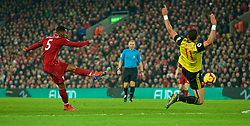LIVERPOOL, ENGLAND - Wednesday, February 27, 2019: Liverpool's Georginio Wijnaldum shoots during the FA Premier League match between Liverpool FC and Watford FC at Anfield. (Pic by Paul Greenwood/Propaganda)