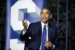 October 3, 2016 - Washington, DC, United States of America - U.S President Barack Obama joins Leonardo DiCaprio and Dr. Katharine Hayhoe for a discussion on climate change during the South by South Lawn festival on the South Lawn of the White House October 3, 2016 in Washington, DC. The event is inspired by the South by Southwest festival and includes arts, film, entertainment and technology. (Credit Image: © Chuck Kennedy/Planet Pix via ZUMA Wire)