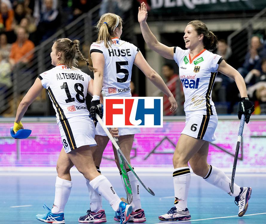 BERLIN - Indoor Hockey World Cup<br /> Women: Germany - Russia<br /> foto: germany celebrates.<br /> WORLDSPORTPICS COPYRIGHT FRANK UIJLENBROEK