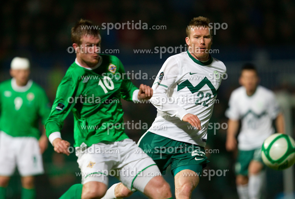 Chris Brunt of Northern Ireland vs Matej Mavric Rozic of Slovenia during EURO 2012 Quaifications game between National teams of Slovenia and Northern Ireland, on March 29, 2011, in Windsor Park Stadium, Belfast, Northern Ireland, United Kingdom. (Photo by Vid Ponikvar / Sportida)