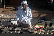 Shoemaker on the street of Shahpura, Madhya Pradesh, India.