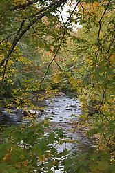 Fall color laces the Lamoille River in Belvidere, Vermont, on Morgan Bridge Road.