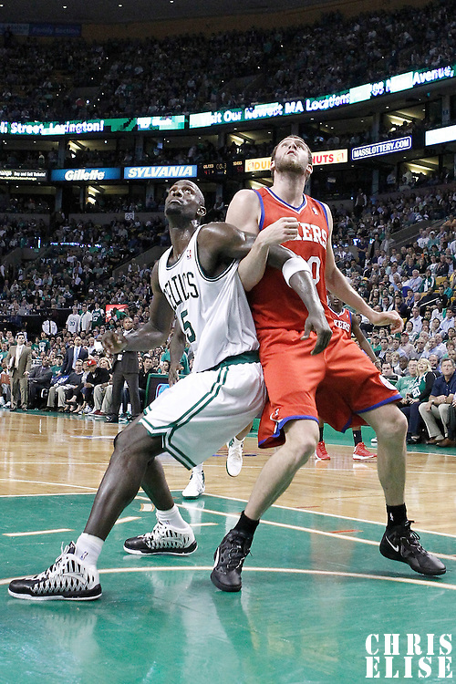 21 May 2012: Boston Celtics power forward Kevin Garnett (5) vies for the rebound with Philadelphia Sixers center Spencer Hawes (00) during the Boston Celtics 101-85 victory over the Philadelphia Sixer, in Game 5 of the Eastern Conference semifinals playoff series, at the TD Banknorth Garden, Boston, Massachusetts, USA.