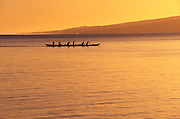 Outrigger Canoe at sunset, Kaunakakai, Molokai, Hawaii<br />