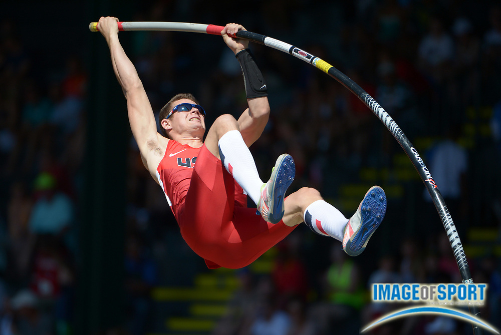 Jul 26, 2014; Eugene, OR, USA; Devin King (USA) places fourth in the pole vault at 18-0 1/2 (5.50m) in the 2014 IAAF World Junior Championships at Hayward Field.