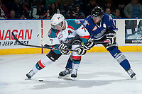 KELOWNA, CANADA -FEBRUARY 8: Damon Severson #7 of the Kelowna Rockets is checked by Ben Walker #10 of the Victoria Royals on February 8, 2014 at Prospera Place in Kelowna, British Columbia, Canada.   (Photo by Marissa Baecker/Getty Images)  *** Local Caption *** Damon Severson; Ben Walker;