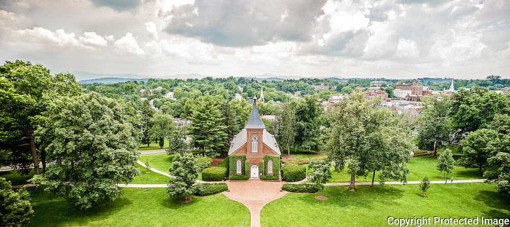 A rare bird's-eye view of Lee Chapel, resting place of Robert E. Lee and Traveler. The City of Lexington and the Blue Ridge Mountains are in the background.