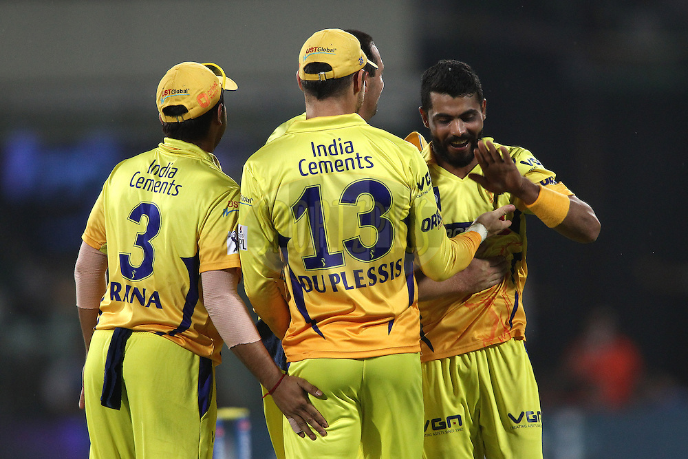 Faf du Plessis of The Chennai Super Kings and Ravindra Jadeja of The Chennai Super Kings celebrate getting Murali Vijay of the Delhi Daredevils wicket during match 26 of the Pepsi Indian Premier League Season 2014 between the Delhi Daredevils and the Chennai Super Kings held at the Feroze Shah Kotla cricket stadium, Delhi, India on the 5th May  2014<br /> <br /> Photo by Shaun Roy / IPL / SPORTZPICS<br /> <br /> <br /> <br /> Image use subject to terms and conditions which can be found here:  http://sportzpics.photoshelter.com/gallery/Pepsi-IPL-Image-terms-and-conditions/G00004VW1IVJ.gB0/C0000TScjhBM6ikg