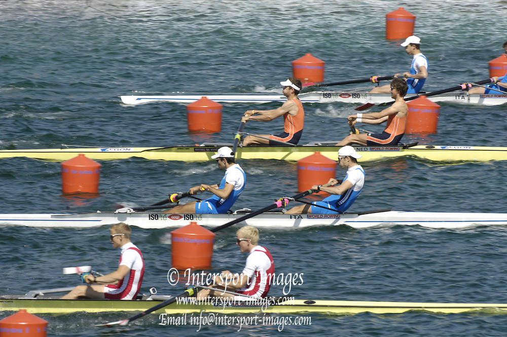 Munich, GERMANY,  Heat of the light men's pairs LM2- of the start, Netherlands catching a crab,  at  the FISA World Cup at the Munich Olympic Rowing Course, Thur's.  09/05/2008  [Mandatory Credit Peter Spurrier/ Intersport Images] Rowing Course, Olympic Regatta Rowing Course, Munich, GERMANY