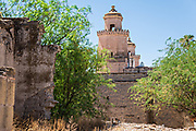 View of the front towers of the Hacienda de Jaral de Berrio from the old Mescal distillery in Jaral de Berrios, Guanajuato, Mexico. The abandoned Jaral de Berrio hacienda was once the largest in Mexico and housed over 6,000 people on the property.