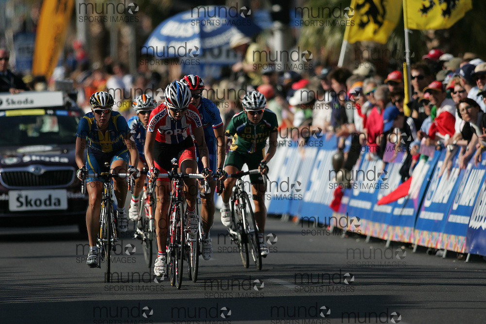 (Geelong, Australia---2 October 2010) Lise NÖSTVOLD of Norway rides up the hill past the start/finish line during the Elite Women's Road Race at the 2010 UCI Road World Championships.  [2010 Copyright Sean Burges / Mundo Sport Images -- www.mundosportimages.com]