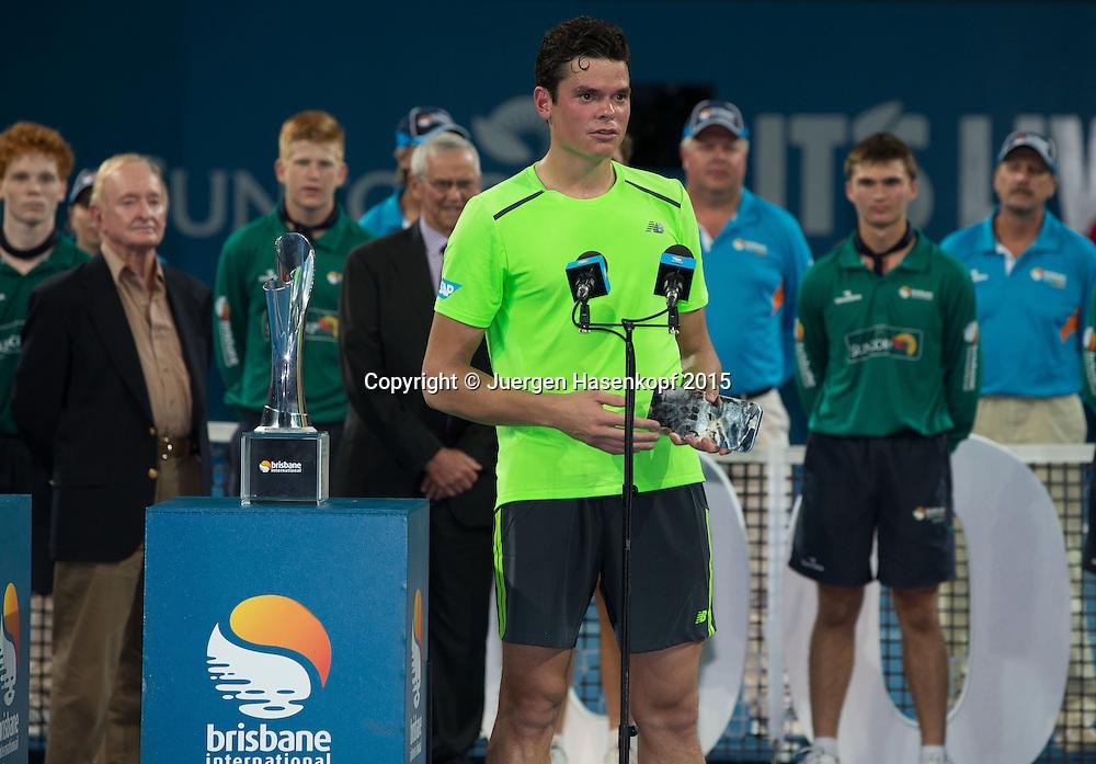 Finalist Milos Raonic (CAN), Siegerehrung<br /> <br /> Tennis - Brisbane International  2015 - ATP -   - Brisbane - QLD - Australia  - 11 January 2015. <br /> &copy; Juergen Hasenkopf